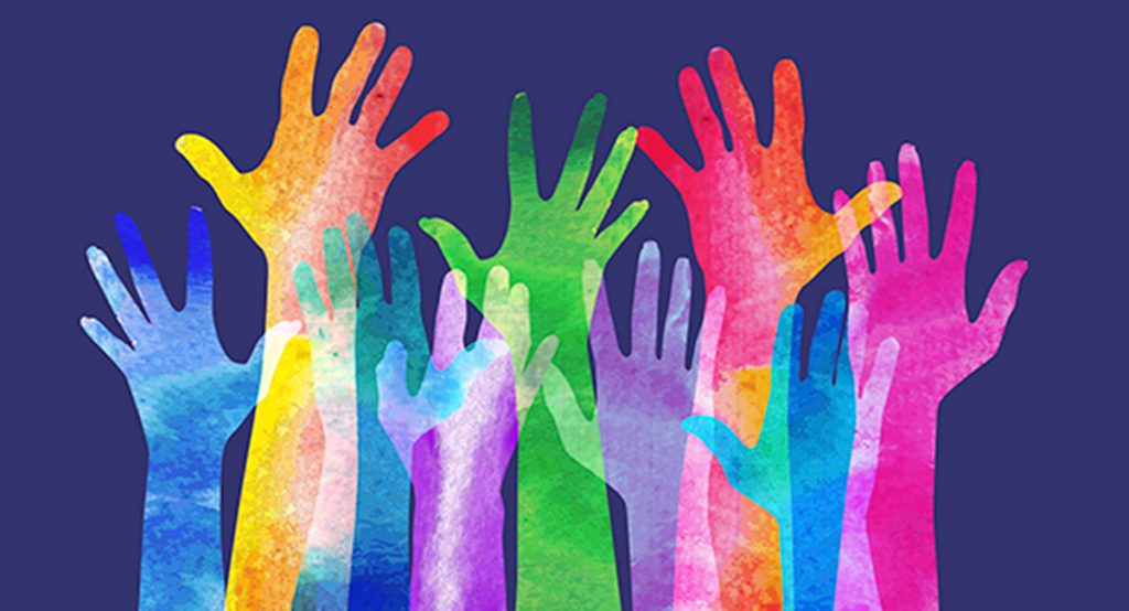 Illustration of many upstretched hands as if volunteering.